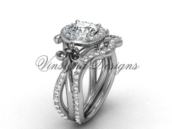 "14kt white gold diamond Fleur de Lis, halo engagement ring, wedding band, ""Forever One"" Moissanite engagement set VD20889S - Vinsiena Designs"