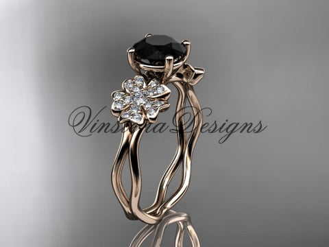 14kt rose gold diamond Cherry Blossom flower, Sakura engagement ring  Black Diamond VD8019