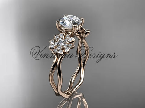 "14kt rose gold diamond Cherry Blossom flower, Sakura engagement ring  ""Forever One"" Moissanite VD8019"
