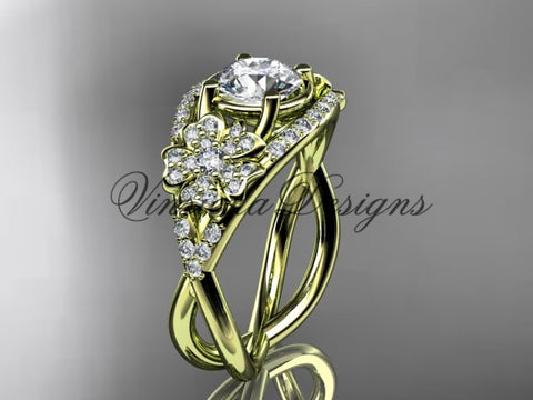"14kt yellow gold diamond Cherry Blossom flower, Sakura engagement ring  ""Forever One"" Moissanite VD8088 - Vinsiena Designs"