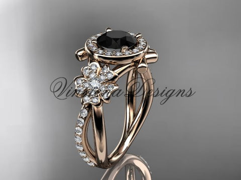14kt rose gold  diamond Cherry Blossom flower, Sakura engagement ring Black Diamond VD8089