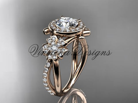 "14kt rose gold  diamond Cherry Blossom flower, Sakura engagement ring ""Forever One"" Moissanite VD8089"