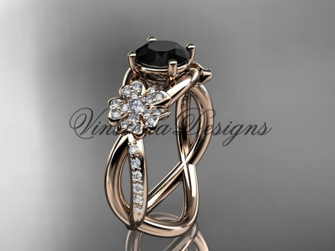 14kt rose gold  diamond Cherry Blossom flower, Sakura engagement ring Black Diamond VD8090