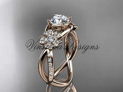 "14kt rose gold  diamond Cherry Blossom flower, Sakura engagement ring ""Forever One"" Moissanite VD8090"