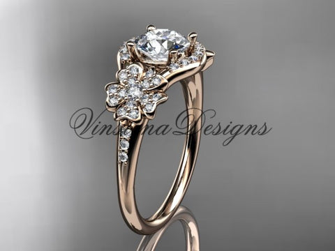 "14kt rose gold  diamond Cherry Blossom flower, Sakura engagement ring ""Forever One"" Moissanite VD8091"