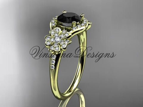 14kt yellow gold diamond Cherry Blossom flower, Sakura engagement ring Black Diamond VD8091