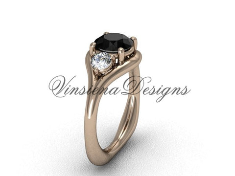 Unique 14kt rose gold Three stone engagement ring, Black Diamond VD8112 - Vinsiena Designs