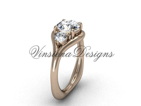 "Unique 14kt rose gold Three stone engagement ring, ""Forever One"" Moissanite VD8112"