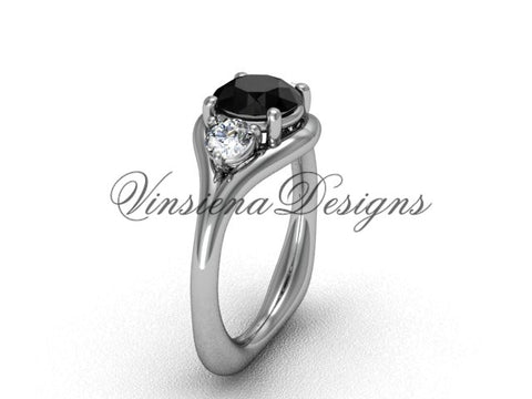 Unique Platinum Three stone engagement ring, Black Diamond VD8112 - Vinsiena Designs