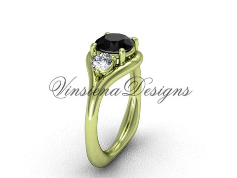 Unique 14kt yellow gold Three stone engagement ring, Black Diamond VD8112 - Vinsiena Designs