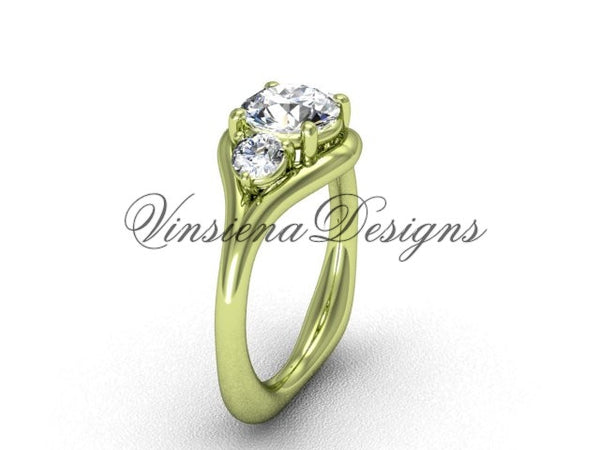 "Unique 14kt yellow gold Three stone engagement ring, ""Forever One"" Moissanite VD8112 - Vinsiena Designs"