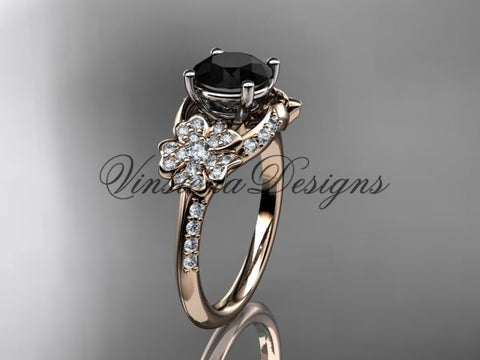 14kt rose gold  diamond Cherry Blossom flower, Sakura engagement ring Black Diamond VD8125