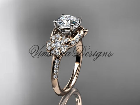 "14kt rose gold  diamond Cherry Blossom flower, Sakura engagement ring ""Forever One"" Moissanite VD8125"