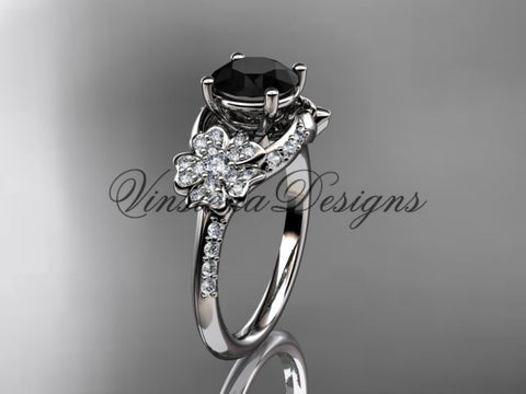 14kt white gold  diamond Cherry Blossom flower, Sakura engagement ring Black Diamond VD8125