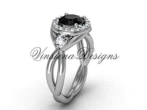 Unique 14k white gold wedding ring, engagement ring, Black Diamond VD8127 - Vinsiena Designs