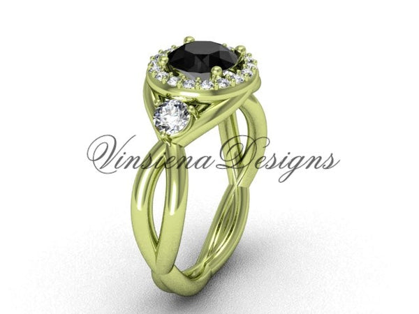 Unique 14kt yellow gold wedding ring, engagement ring, Black Diamond VD8127 - Vinsiena Designs