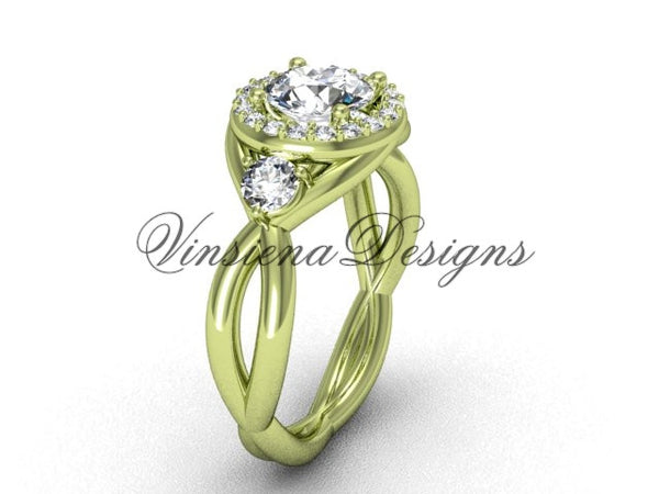 "Unique 14kt yellow gold wedding ring, engagement ring, ""Forever One"" Moissanite VD8127 - Vinsiena Designs"