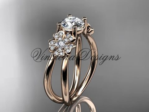 14kt rose gold  diamond Cherry Blossom flower, Sakura engagement ring  VD8130 - Vinsiena Designs