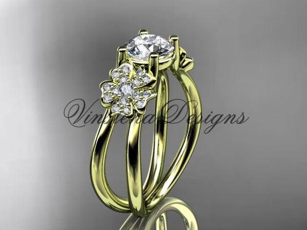 "14kt yellow gold diamond Cherry Blossom flower, Sakura engagement ring ""Forever One"" Moissanite VD8130 - Vinsiena Designs"