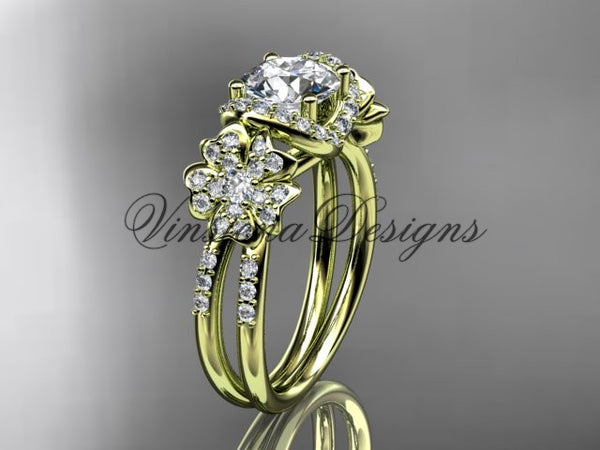 14kt yellow gold diamond Cherry Blossom flower, Sakura engagement ring  Moissanite VD8140 - Vinsiena Designs