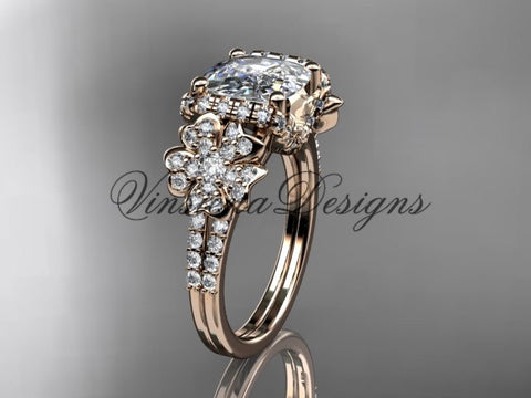 14kt rose gold diamond Cherry Blossom flower, Sakura engagement ring with cushion cut Moissanite VD8148