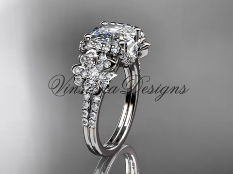 Platinum diamond Cherry Blossom flower, Sakura engagement ring with cushion cut Moissanite VD8148