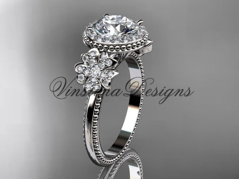 Platinum diamond Cherry Blossom flower, Sakura engagement ring One Moissanite VD8157