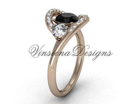 Unique 14kt rose gold wedding ring, engagement ring, Black Diamond VD8166 - Vinsiena Designs