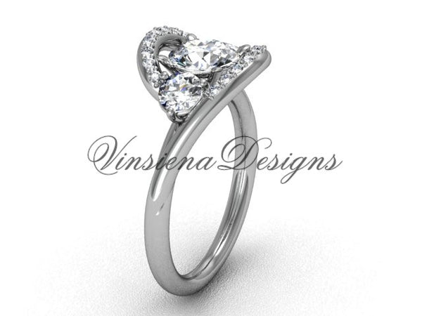 "Unique 14k white gold wedding ring, engagement ring, ""Forever One"" Moissanite VD8166 - Vinsiena Designs"