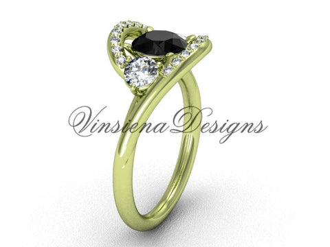 Unique 14kt yellow gold diamond wedding ring, engagement ring, Black Diamond VD8166 - Vinsiena Designs
