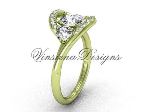 "Unique 14kt yellow gold wedding ring, engagement ring, ""Forever One"" Moissanite VD8166 - Vinsiena Designs"