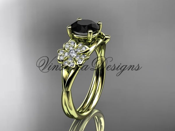 14kt yellow gold diamond Cherry Blossom flower, Sakura engagement ring  Black Diamond VD8189 - Vinsiena Designs