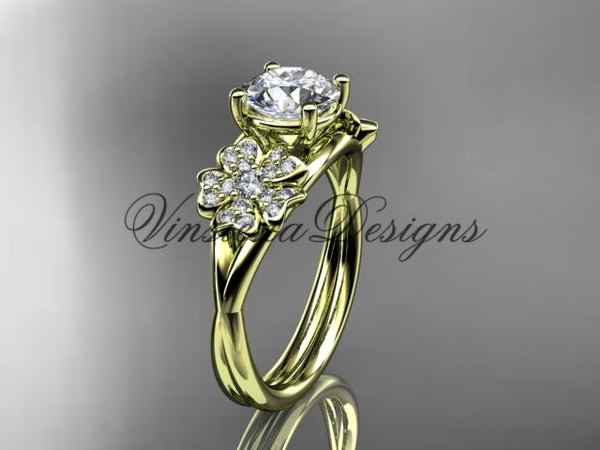 "14kt yellow gold diamond Cherry Blossom flower, Sakura engagement ring  ""Forever One"" Moissanite VD8189 - Vinsiena Designs"