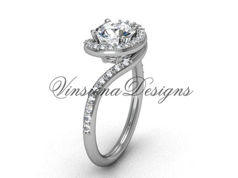 Unique 14k white gold diamond engagement ring VD8199 - Vinsiena Designs