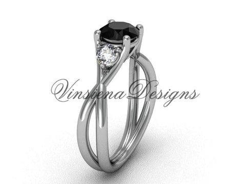 Unique 14kt white gold Three stone engagement ring, Black Diamond VD8212