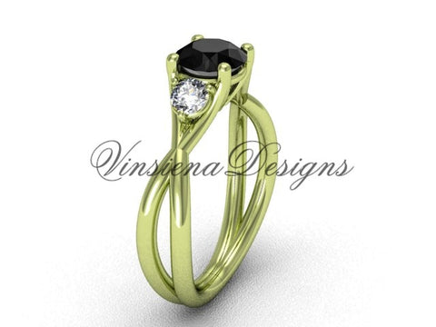 Unique 14kt yellow gold Three stone engagement ring, Black Diamond VD8212 - Vinsiena Designs