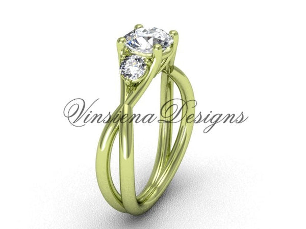 "Unique 14kt yellow gold Three stone engagement ring, ""Forever One"" Moissanite VD8212 - Vinsiena Designs"