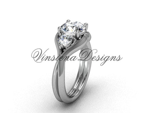 "Unique 14k white gold Three stone engagement ring, ""Forever One"" Moissanite VD8220 - Vinsiena Designs"
