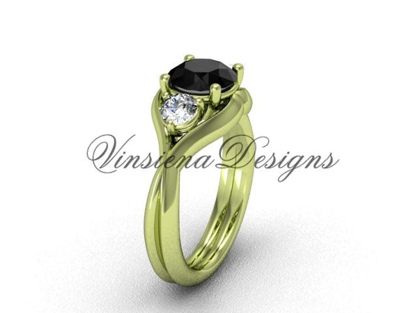 Unique 14kt yellow gold Three stone engagement ring, Black Diamond VD8220 - Vinsiena Designs