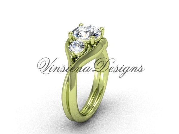 "Unique 14kt yellow gold Three stone engagement ring, ""Forever One"" Moissanite VD8220 - Vinsiena Designs"