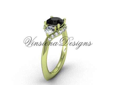 Unique 14kt yellow gold diamond wedding ring, engagement ring, Black Diamond VD8225