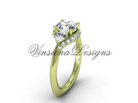 "Unique 14kt yellow gold diamond wedding ring, engagement ring, ""Forever One"" Moissanite VD8225 - Vinsiena Designs"