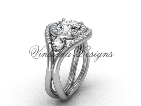 "Unique 14k white gold diamond wedding ring, engagement ring, ""Forever One"" Moissanite VD8245 - Vinsiena Designs"