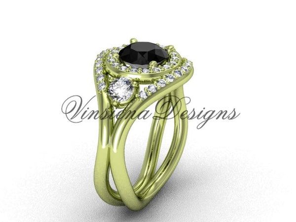 Unique 14kt yellow gold diamond wedding ring, engagement ring, Black Diamond VD8245 - Vinsiena Designs