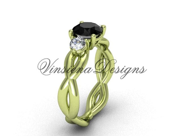 Unique 14kt yellow gold Three stone engagement ring, Black Diamond VD8405 - Vinsiena Designs