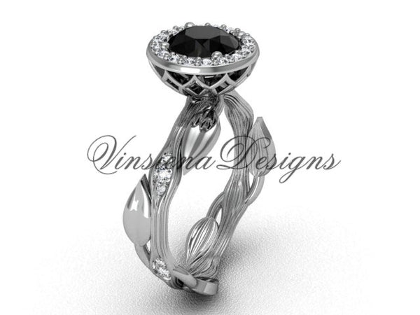 platinum diamond leaf and vine engagement ring, Black Diamond VF301002 - Vinsiena Designs