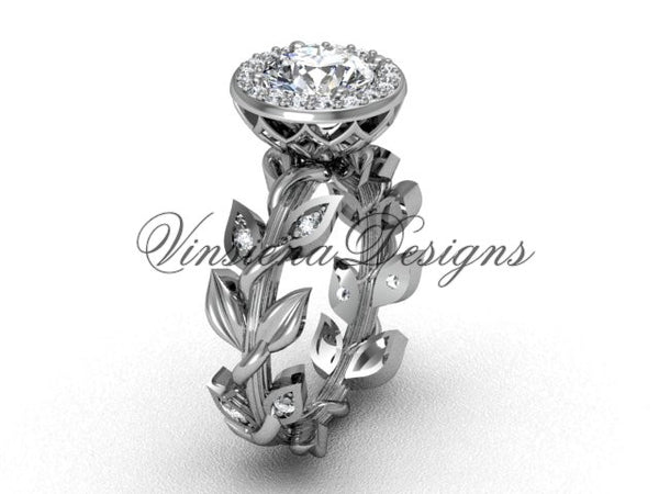 14kt white gold diamond leaf and vine engagement ring VF301007 - Vinsiena Designs