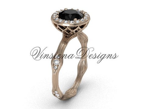 14k rose gold diamond engagement ring, Black Diamond VF301011 - Vinsiena Designs