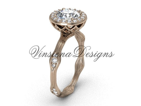 "14k rose gold diamond engagement ring, ""Forever One"" Moissanite VF301011 - Vinsiena Designs"
