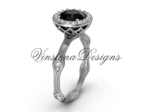 14k white gold diamond engagement ring, Black Diamond VF301011